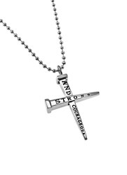 Strong And Courageous Two Nail Cross Necklace