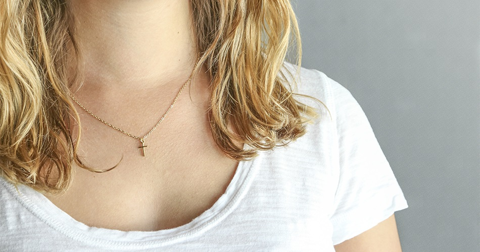 Small Thin Cross Gold Plated Necklace - BSD-510-303-655X