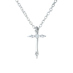 Engraved Points with Cubic Zerconia Cross Necklace