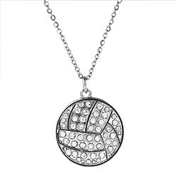 Crystal Volleyball Pendant Necklace