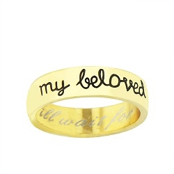 Gold Finish I Will Wait for My Beloved Cursive Ring