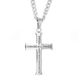 Through Christ Iron Cross Necklace