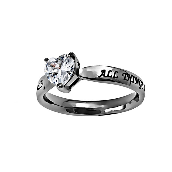 Christ My Strength Solitaire Heart Ring - ST-CZH CMS
