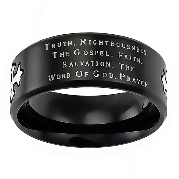Armor of God Black Neo Cross Ring - ST-NEO-AOG-BLK
