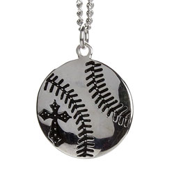 Mens Rhodium Plated Baseball Necklace