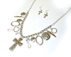 Faith Silver Necklace Earring Set