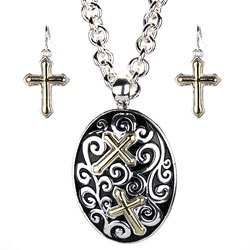 Cross Oval Necklace Earring Set