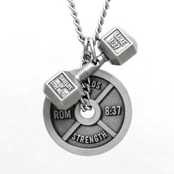 Luke 1:37 Dumbbell & Romans 8:37 Weight Plate Necklace