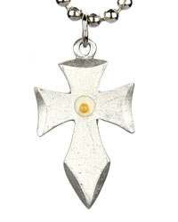Pointed Flare Cross with Mustard Seed Necklace