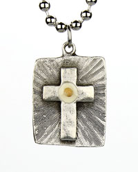 Dog Tag Cross with Mustard Seed Necklace