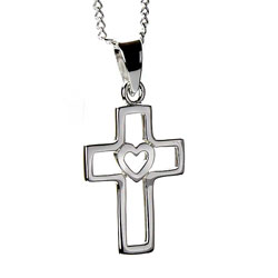 Cutout Cross Heart Necklace