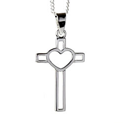 Large Open Heart Cross Necklace