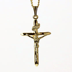 Gold Plated Crucifix Bar Cross Necklace