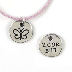Round Butterfly 2 Cor. 5:17 Necklace