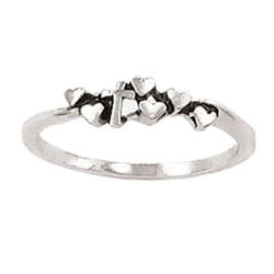Tiny Hearts Cross Ring
