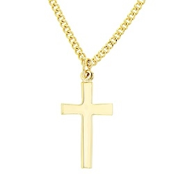 Plain Cross Gold Plated Necklace - BSD-510-303-6223