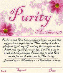 Girls Purity Commitment Card