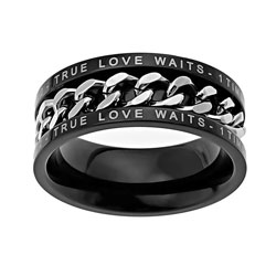 True Love Waits Black Chain Ring