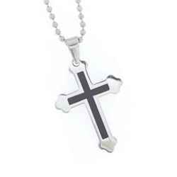 Black Inlay Cross Necklace