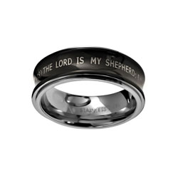 Black Psalm 23 Spinner Ring
