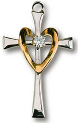 Golden Heart Crystal Cross Necklace