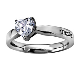 True Love Waits Solitaire Heart Ring