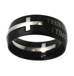Black True Love Waits Double Cross Ring