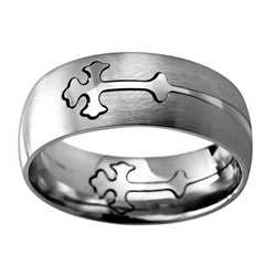 Silver Double Cross Ring