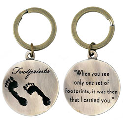 Footprints Metal Keyring