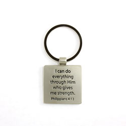Mark 10:27 Metal Keyring
