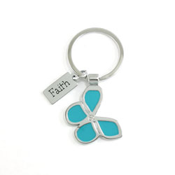 Faith Blue Butterfly Keyring