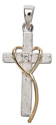 Rough Cross Heart Necklace