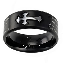 Armor of God Black Neo Cross Ring