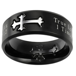 True Love Waits Black Neo Cross Ring