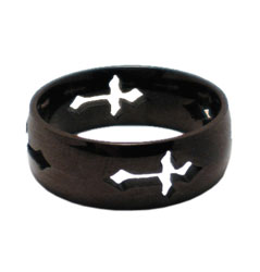 Black Cut Out Cross Ring