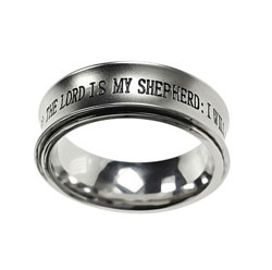 Silver Psalm 23 Spinner Ring
