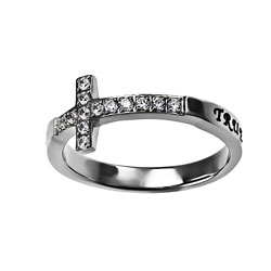 True Love Waits Sideways Cross Ring