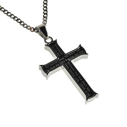 John 3:16 Black Iron Cross Necklace