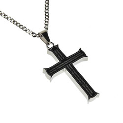 Love Black Iron Cross Necklace