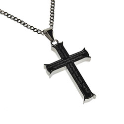 Strength Black Iron Cross Necklace