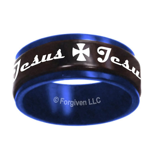 Black & Blue Jesus Spinner Ring - X-FJ-RS5