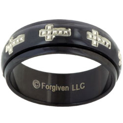 Crosses Studded on Black Anodized Spinner Stainless Steel Ring