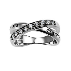 Purity Rings. Whether elaborate or simple, a purity ring is a symbol of faith, courage, and the vow made by men and women alike to remain abstinent until marriage. At Christian Jewelry, we are proud to honor this commitment by offering an assortment of purity rings at affordable prices.